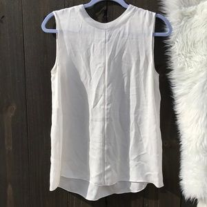 Vince 100% Silk Off White Rib Trimmed Tank Small